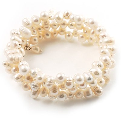 3 Strand Snow White Freshwater Pearl Wrap Bangle Bracelet (6mm)