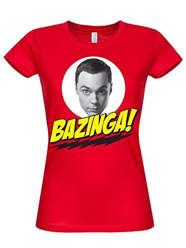 T-shirt Big Bang Theory Bazinga red Sheldon Cooper maglia donna (M)