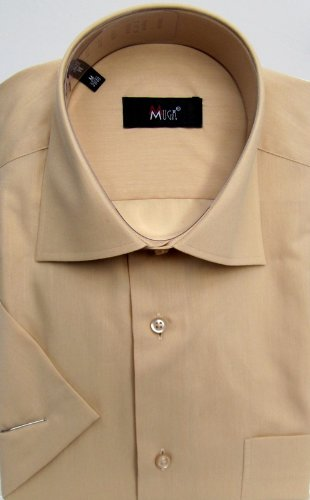 MUGA mens Shortsleeve shirts for Casual and Formal, Beige, Size 5XL