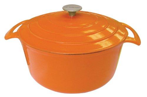 Le Cuistot Vieille France Enameled Cast-Iron 7.5 Quart Round Dutch Oven - Bright Orange