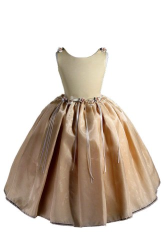 Amj Dresses Inc Big Girls Simple Gold Flower Girl Pageant Dress Size 12