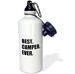 3dRose wb_179763_1 Best Camper Ever-Bold Text for Camping Fan Or Camp Hater Ironic Use Sports Water Bottle, 21 oz, White