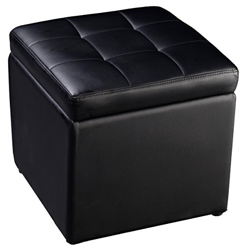 Cube Ottoman Pouffe Storage Box Lounge Seat Footstools with Hinge Top (Black) (Storage Stool Seat compare prices)