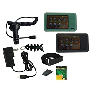 iShoppingdeals - Black/Green Silicone Skin + Car Charger + Wall Charger + Screen Protector + Armband + Beltclip + Fishbone Keychain for Creative Zen X-Fi2