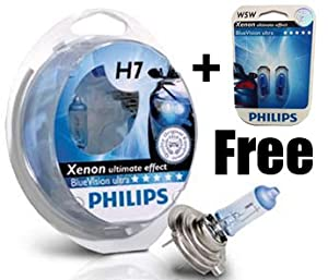 philips h7 blue vision 100 headlight bulbs free w5w. Black Bedroom Furniture Sets. Home Design Ideas
