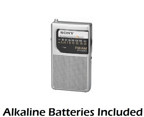 Sony Palm Size Portable Am/Fm Radio With Built-In Speaker, Earphone Jack, Led Tuning Indicator & Carry Strap - Batteries Included - Compact Design Fits Easily Into Any Pocket