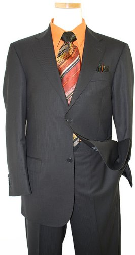 Collezioni by Zanetti Black With Black Shadow Pinstripes Super 120's Wool Suit BH43542 (US 52L/Euro 62 - 46 in. Waist)