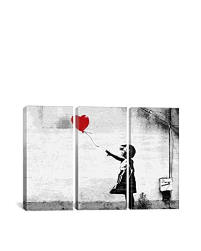 Banksy Girl With A Balloon Gallery Wrapped Canvas Print, Triptych