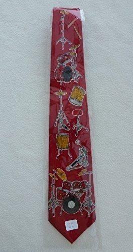 Herren-Krawatte-mit-Schlagzeug-Rot1060