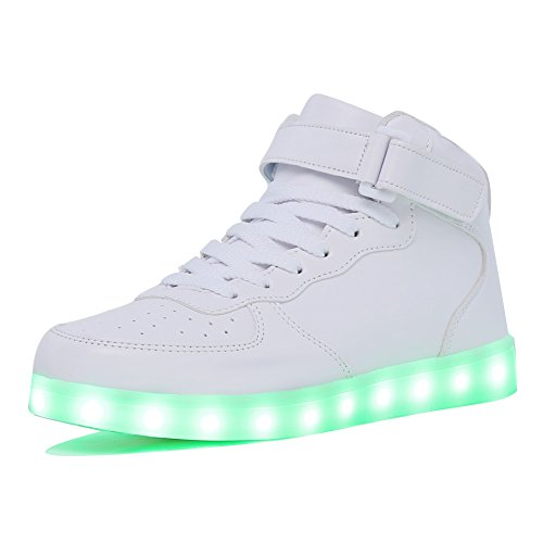 CIOR High Top Led Light Up Shoes 11 Colors Flashing Rechargeable Sneakers for Mens Womens Girls Boys For Christmas,101B,02,44