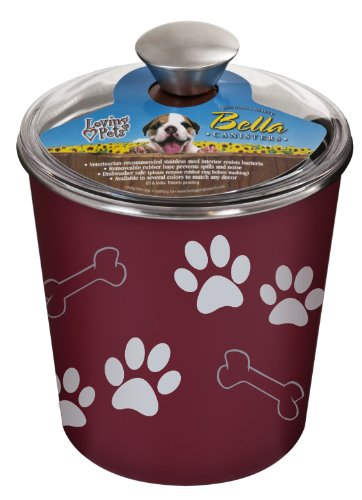 Loving Pets Bella Dog Bowl Canister Treat Container