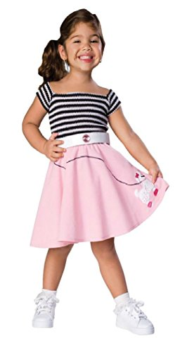 Girls 50'S Sock Hop Poodle Kids Child Fancy Dress Party Halloween Costume