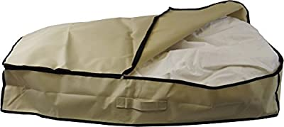 Neusu 80 Litre Heavy Duty Underbed Storage Bag - Large Size (96cm x 48cm x 18cm) 80 Litre Capacity - Strong 600D Polyester Material With Web Reinforced Handle - Fits Bedding, Clothes, Pillows, Etc Up To King Size Duvet - Alternative to Blanket Box - Beige