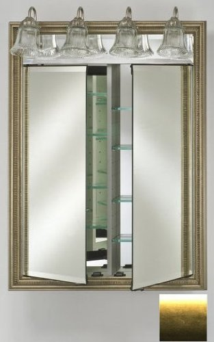 Afina Corporation DD-LT2434RSATGD 24 in.x 34 in.Recessed Double Door Cabinet with Traditional Lights - Brushed Satin Gd
