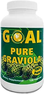 GOAL Pure Graviola Capsules - 1000mg Graviola Plant Leaf and Stem - The Rainforest's Powerful Immune System Booster 120 Caps