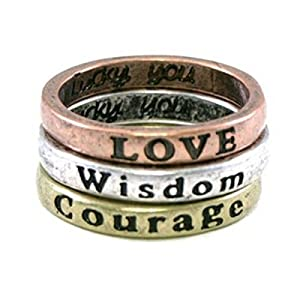 Wrapables Inspirational Rings (Set of 3) - Courage, Wisdom, Love