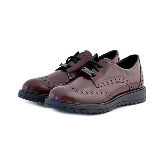 Scarpe Love Moschino stile inglese da donna, bordeaux, in pelle, 37 (37, BORDEAUX)