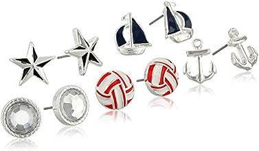 Silver-Tone Nautical Theme 5-Pair Boxed Earrings Jewelry Set