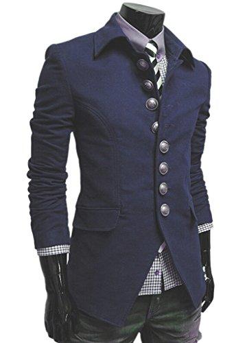 TM Men's vintage Stylish Lapel Button Suit Coat Jacket Blazers XL Blue