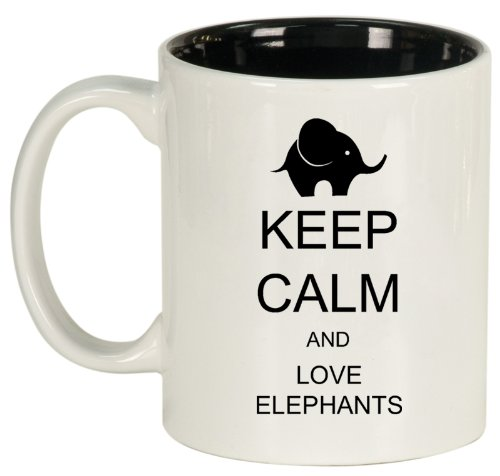 Keep Calm And Love Elephants Ceramic Coffee Tea Mug Cup White Black