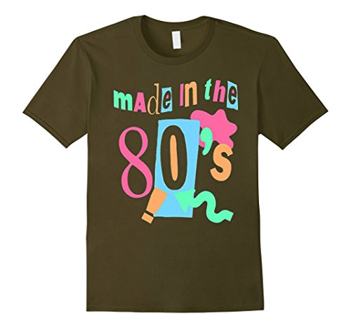 [Men's Made in the 80s unisex t-shirt. Small Olive] (80s Music Costume Ideas)