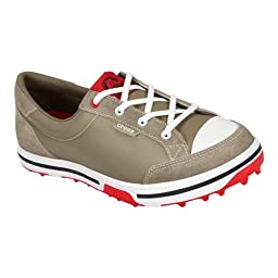 crocs Women\'s 15371 Bradyn2 Golf Shoe,Khaki/Red,4.5 M US