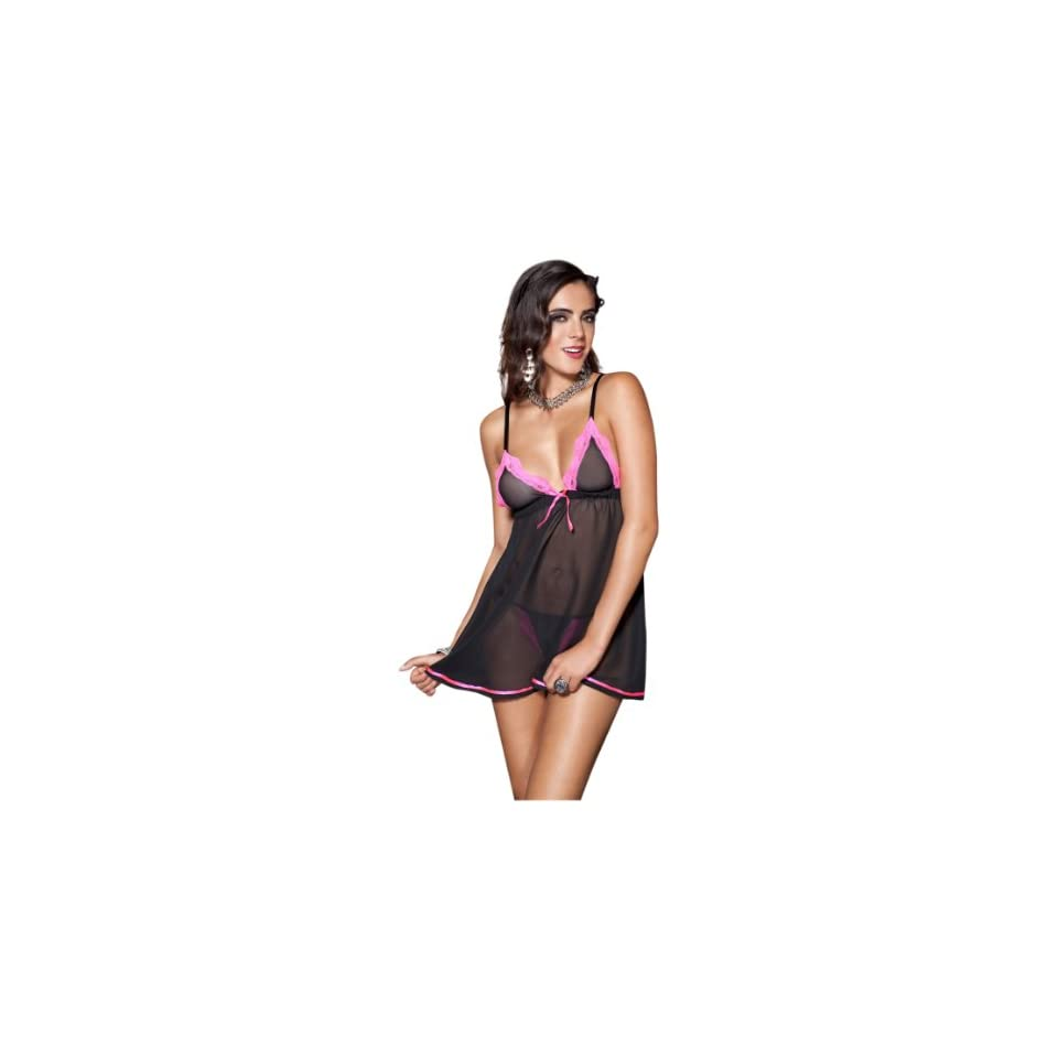 Music Legs Mesh Baby Doll Mini Dress With Ribbon Trim Black/Pink One Size Fits Most