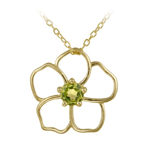 18k Yellow Gold Plated Sterling Silver and Peridot Open Flower Pendant Necklace 18