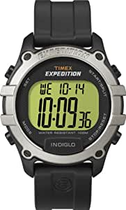 Timex Expedition Men's Quartz Watch with LCD Dial Digital Display and Black Resin Strap T49753P4