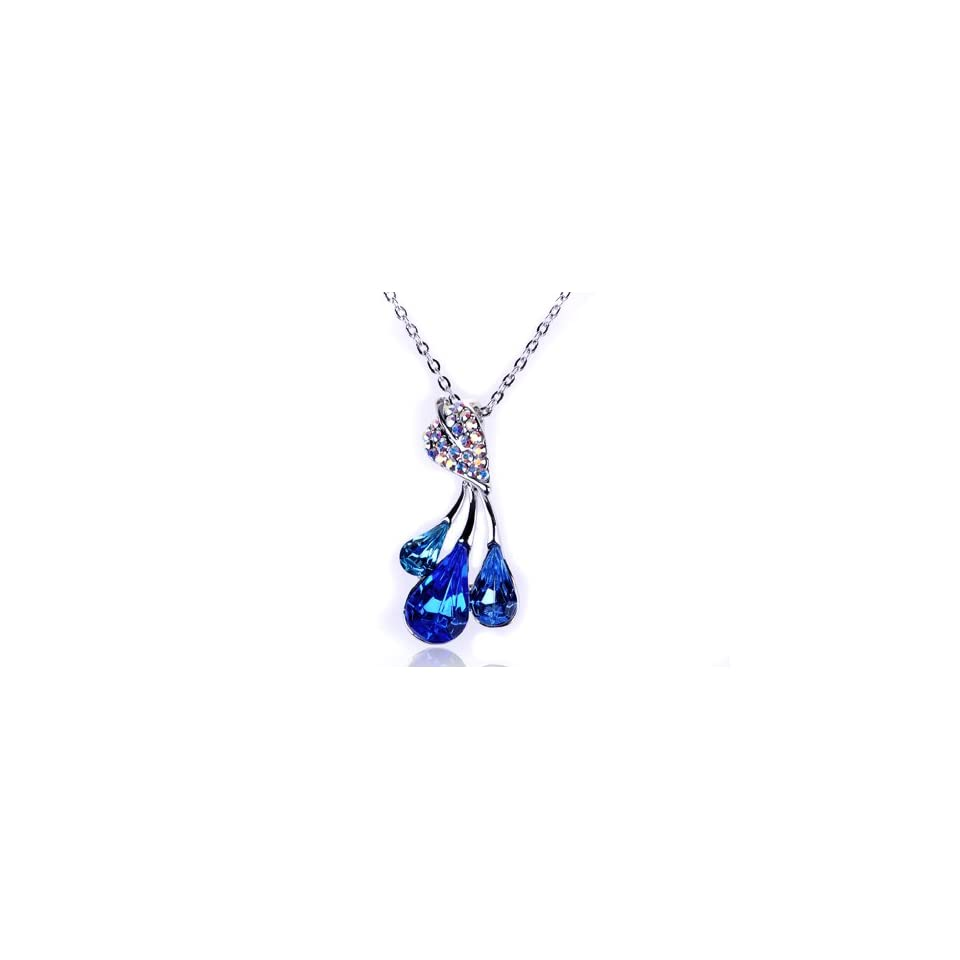 Sapphire Blue Pear Fruit Trio Leaf Swarovski Crystal Rhinestone Pendant Necklace