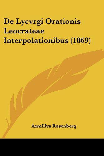 de Lycvrgi Orationis Leocrateae Interpolationibus (1869)