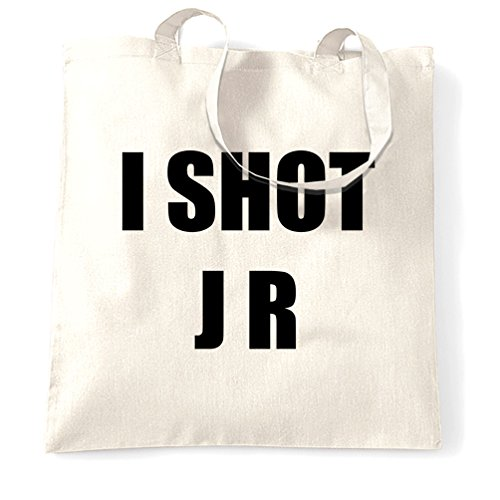 I Shot JR Dallas Retro Shopping Carrier Tote Bag - white or beige with eco-friendly ink