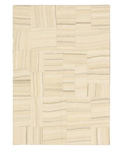 Hand Woven Moldovia Patch Wool Kilim, Cream/Khaki, 4' 7 x 6' 7