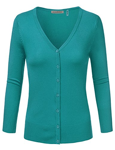JJ Perfection Women's 3/4 Sleeve V-Neck Button Down Knit Cardigan Sweater TEAL M