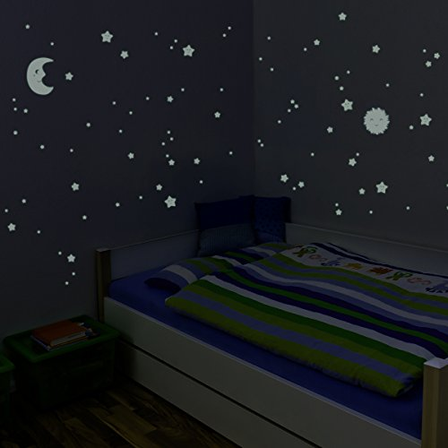 Wandkings Glow-in-the-Dark Decals Sun, Moon & Stars XL Set 114 stickers on 2 US letter sheets (each 8.3 x 11.7 inch)