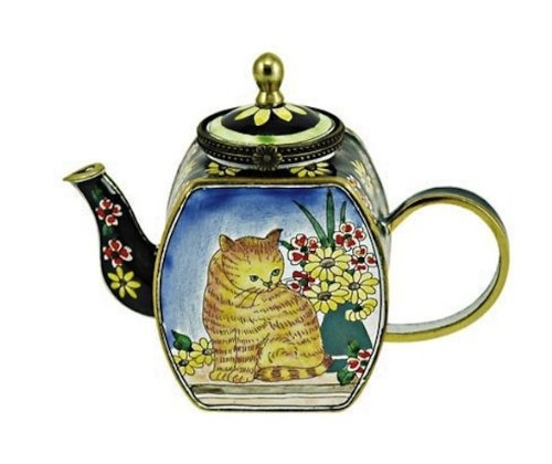 Kelvin Chen Enameled Miniature Tea Pot - Brown Cat