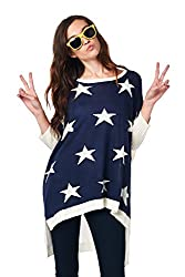 [The Classic Brand] Navy Over-Sized Hi-Lo Stars Sweater Small