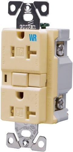 Cooper Wiring Devices TWRVGF20V 20-Amp 2-Pole 3-Wire 125-Volt Tamper and Weather Resistant Ground Fault Circuit Interrupter Duplex, Ivory