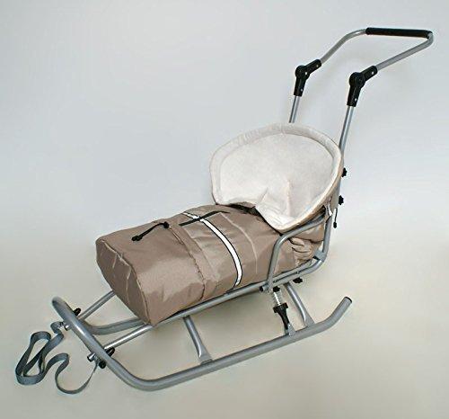 Babyfusssack-Chancelire-pour-Luge-Poussette-beige-blanc