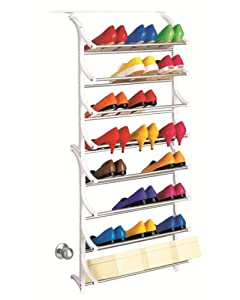 Over Door Shoe Rack - 24 Pair Over-Door Hanging Shoe Shelf Organizer - made by Lynk under Patent in the USA