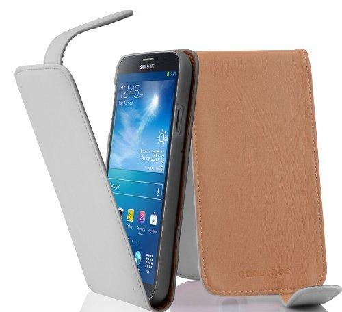 Cadorabo ! PREMIUM - Hülle Flip Style Design für Samsung Galaxy MEGA 6.3 (GT-i9200 / GT-i9205) in POLAR-WEIß