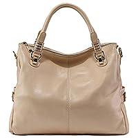 PASTE Women's Genuine Leather Hobo Tote purse satchel Handbag/Shoulder Strap Beige