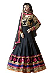 Shoppingover Indian Ethanic Anarkali Suit Georgette Fabric-Black Color