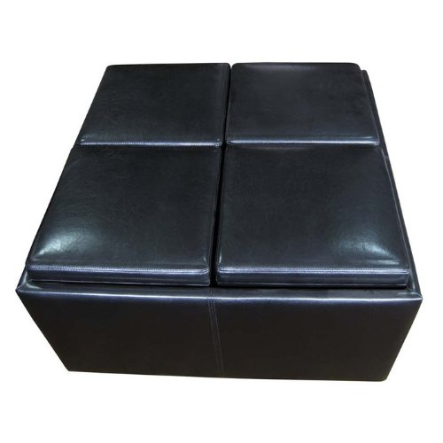 Simpli Home F-07 Avalon Collection Coffee Table Storage Ottoman with 4 Serving Trays, PU Leather, 1-Pack
