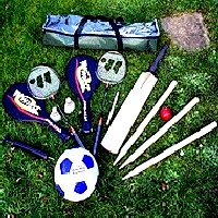 Complete football badminton cricket games kit for the garden
