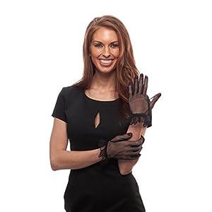 Truffle Ruffle Sheer Wrist Length Gloves (Black)