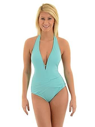 Womens Kenneth Cole Swimwear Light Aqua Tummy Toner Halter One Piece