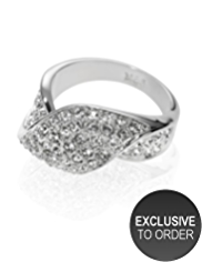 M&S Collection Platinum Plated Diamanté Ribbon Twist Ring