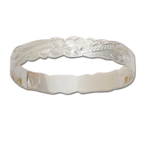 Silver Hawaiian Hand Carved 8mm Cut-out Bangle for Kids