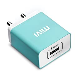 Mivi Smart Charge 2.1A Wall Charger with Auto­Detect Technology for iPhone, iPad, Samsung Galaxy, HTC, Nexus, Moto, OnePlus, Xiaomi, Bluetooth Speakers, Power Banks, Cameras and More (Blue)